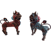 Turquoise and Coral Encrusted Foo Dog or Temple Lions Incense Burner Box