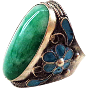 Large Chinese Jade and Sterling Silver Adjustable Ring - Large Stone and Large Size