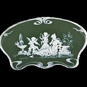 Early Antique Goebel Jasperware Plaque in Excellent Condition