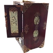 Large Antique Chinese Rosewood and Jade Jewelry Box