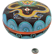 """REDUCED 8"""" Chinese Cloisonne Dragon Box Chasing The Pearl of Wisdom - Extremely Large"""