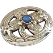 Classic Georg Jensen Sterling Pin with Central Blue Moonstone