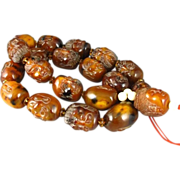 """Rare Carved AMBER Figural Face Beads Buddha Prayer 26"""" Necklace"""