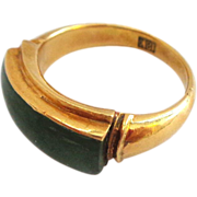 18K Gold and Jade Ring - Size 6