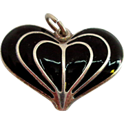 SALE David Andersen Norway Enamel on Sterling Silver Heart Pendant