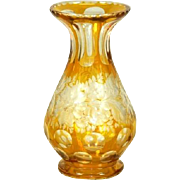 Yellow Cut to Clear Crystal Vase