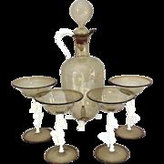 REDUCED Figural 6 PC Bimini Austrian Glass Decanter Set Nude Women