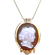 SALE Antique Gold and DIAMOND Hardstone Cameo Pendant or Pin - Our BEST EVER!!
