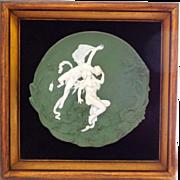 Antique Volkstedt Jasper Ware Jasperware Plaque of Sexy Lovers in Shadowbox Frame