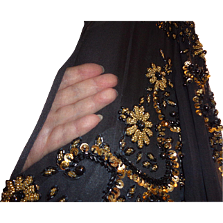Vintage Black and Gold Beaded Gown