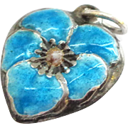 SALE Enamel and Sterling Pansy Puffy Heart Charm
