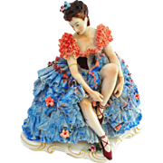 """Dresden Lace Seated Ballerina - Large 7 3/4"""""""