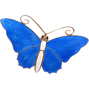 Big Bright Blue Butterfly Pin Enamel on Sterling