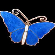 Big Bright Blue Butterfly Pin Enamel on Sterling