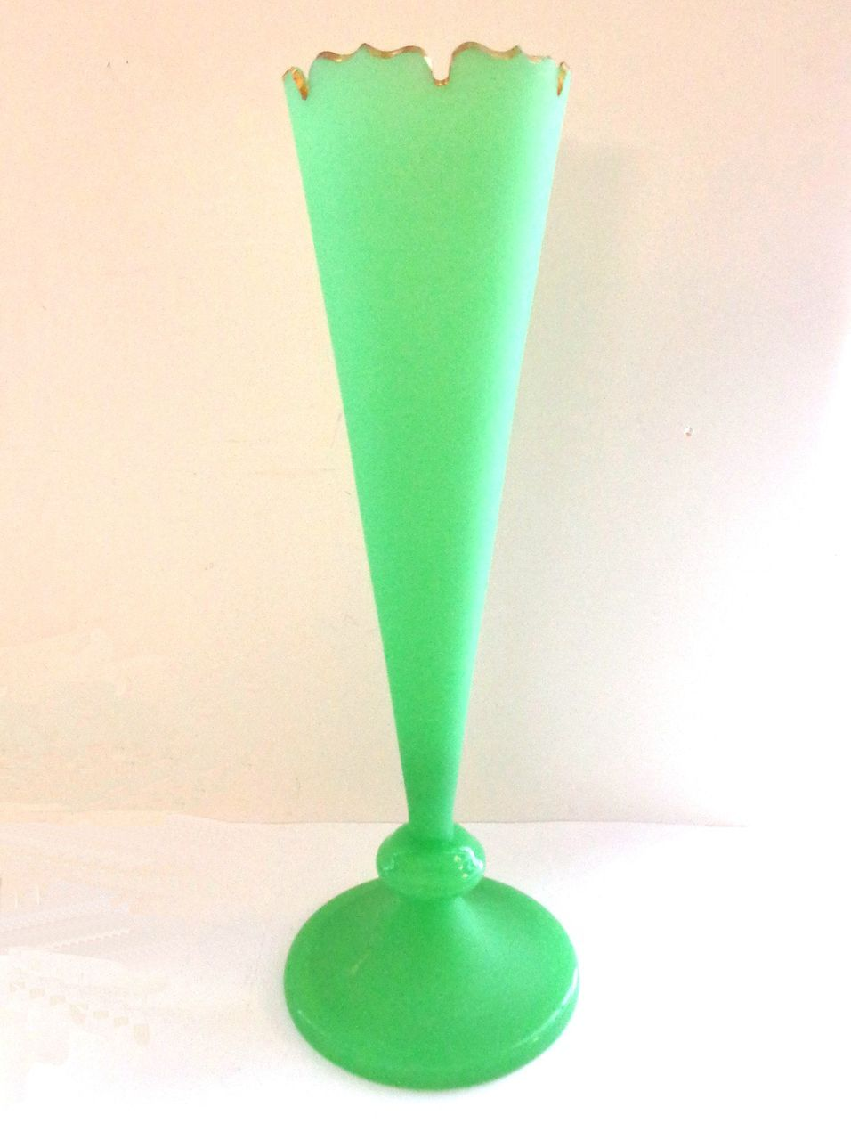 """13"""" Tall French Green Opaline Vase - Fluoresces"""