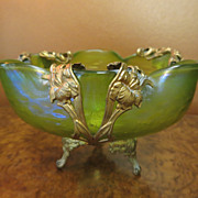 Circa 1890 Loetz Bowl In Metal Armature