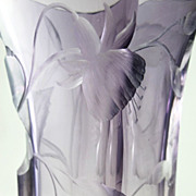 Large Ornate Circa 1900 Antique Moser Intaglio Cut Clear To Amethyst Vase