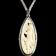 Antique Art Nouveau Carved  900  Silver Figural Pendant