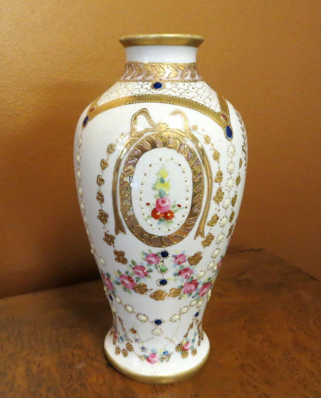 Ornate Circa 1920's Jeweled & Floral Enameled Nippon Vase