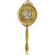 Gilded French Antique 19TH Century Portrait Hand Mirror