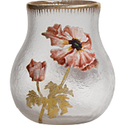 Beautiful Circa 1900 Enameled Floral Mont Joye Vase