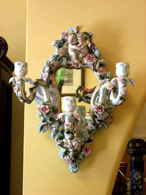 Rare Ornate Circa 1920 Sitzendorf German Porcelain Mirrored Candle Sconce With Figural Cherubs