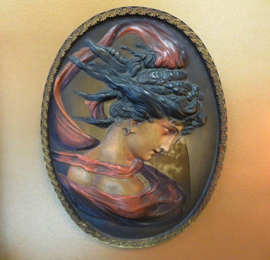 Antique Signed Bradley & Hubbard Art Nouveau Portrait Plaque