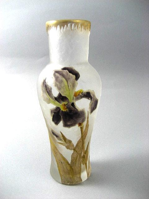 Vintage Signed Mont Joye 6 ¼ Inch Vase With Enameled Irises