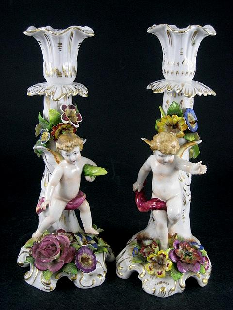 Vintage Pair Of Signed Sitzendorf German Porcelain Figural Cherub Candlesticks