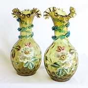 Pair Circa 1880 Antique Victorian Enameled Vases