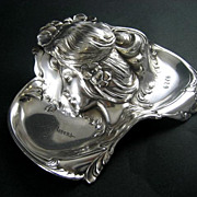 Art Nouveau Silver Plate Figural Inkwell Dated 1906