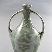 Antique  French  Pate-Sur-Pate Silver Overlay Vase With Dancing Cherubs