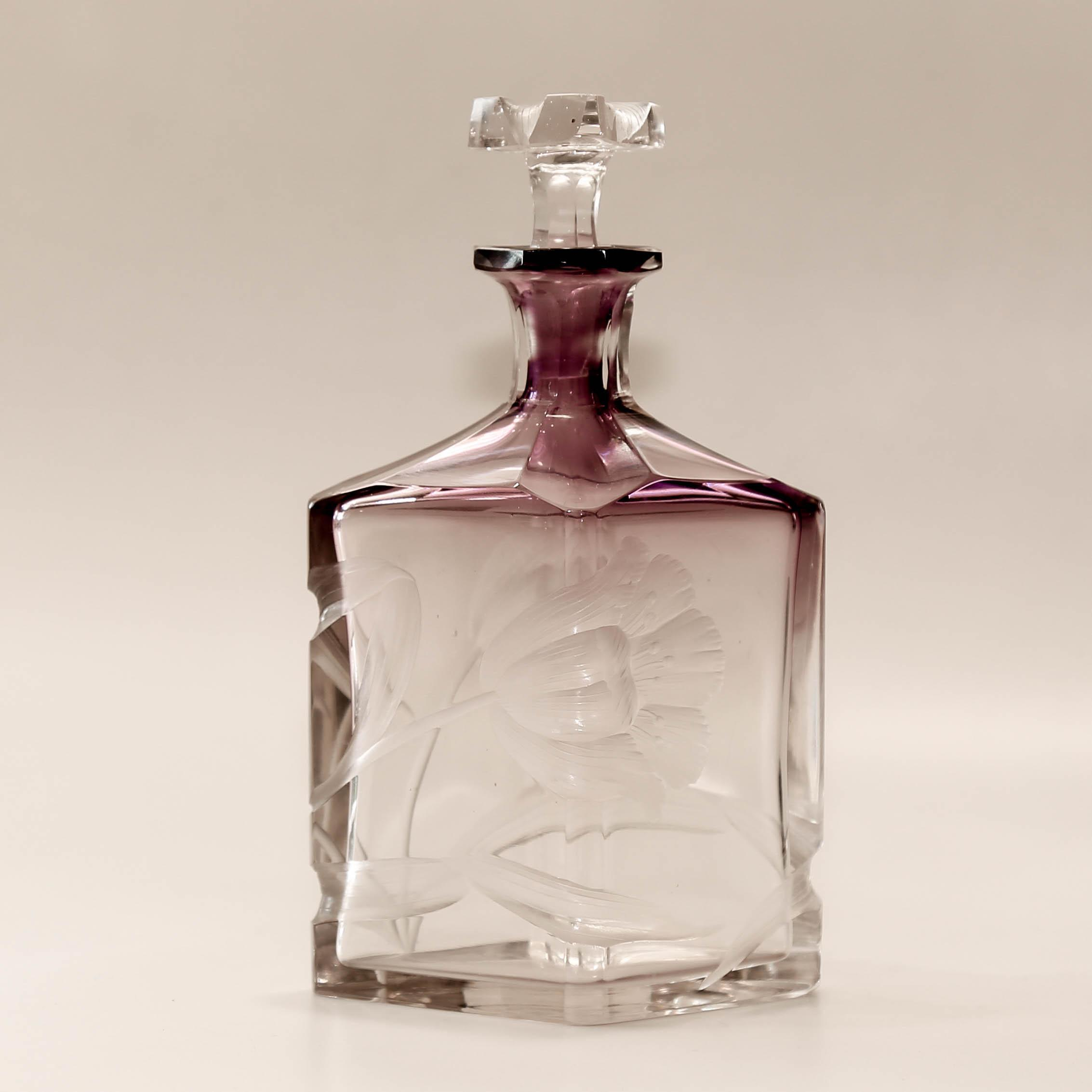 Signed  Moser  Art  Nouveau  Clear  To  Amethyst  Intaglio  Floral  Cut  Perfume  Bottle