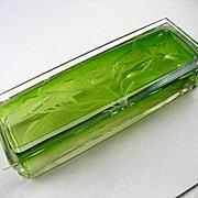 Rare  Circa  1900  Moser  Clear  To  Emerald  Green  Floral  Intaglio  Cut  Covered  Box