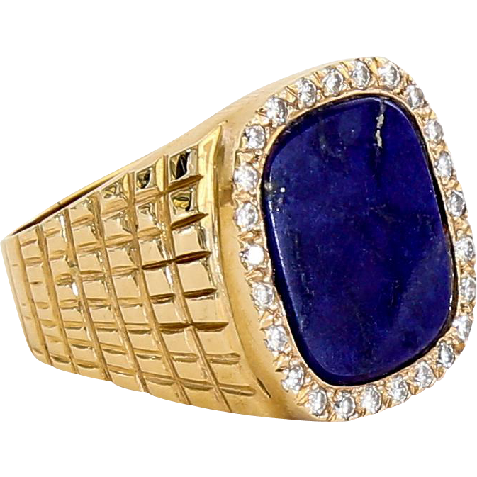Vintage Gent's 14K Lapis & Diamond Ring