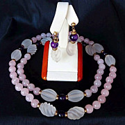 Lady's Vintage 14K Rose Quartz & Amethyst Necklace & Earring set