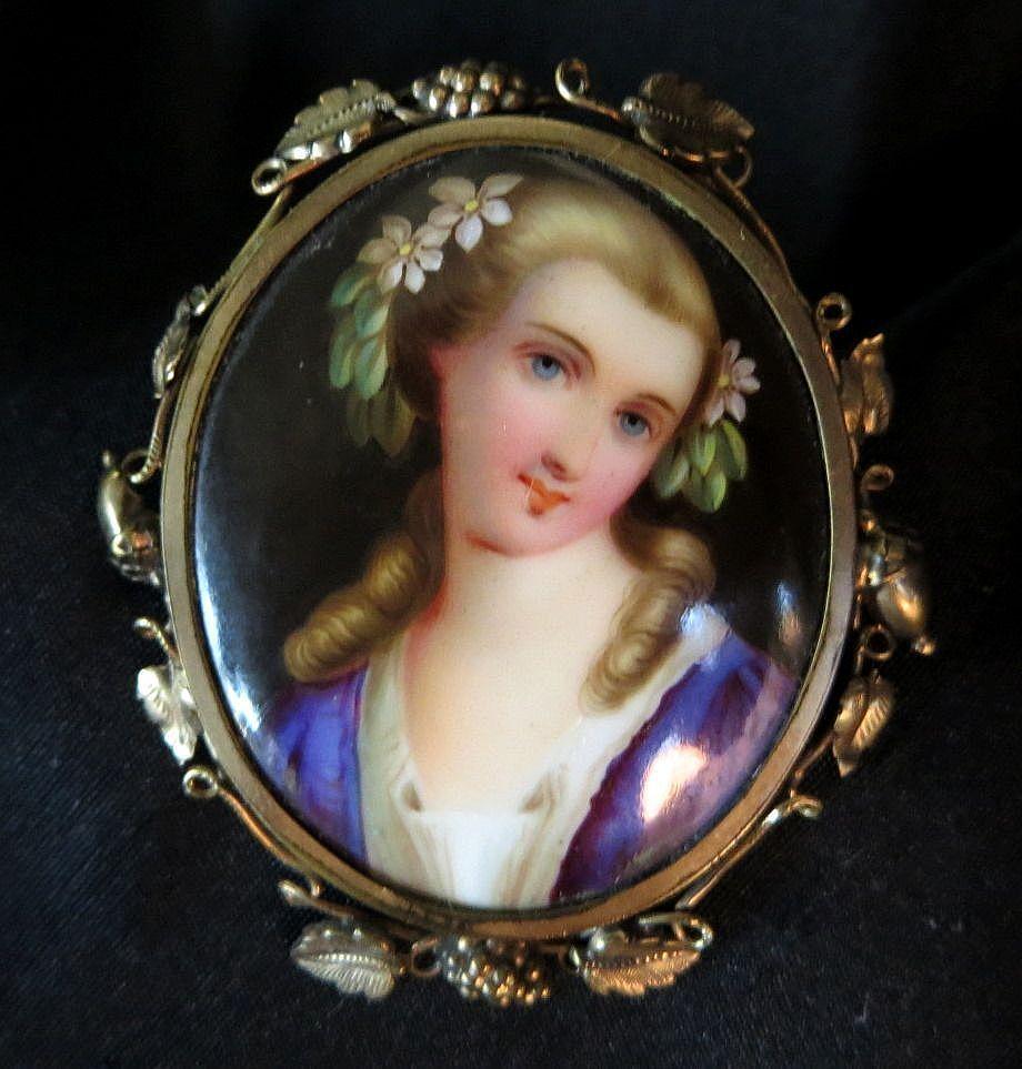 Antique Victorian Gold Filled Enameled Portrait Brooch