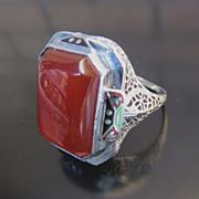 Lady's 14K Art Deco Enameled Carnelian Ring