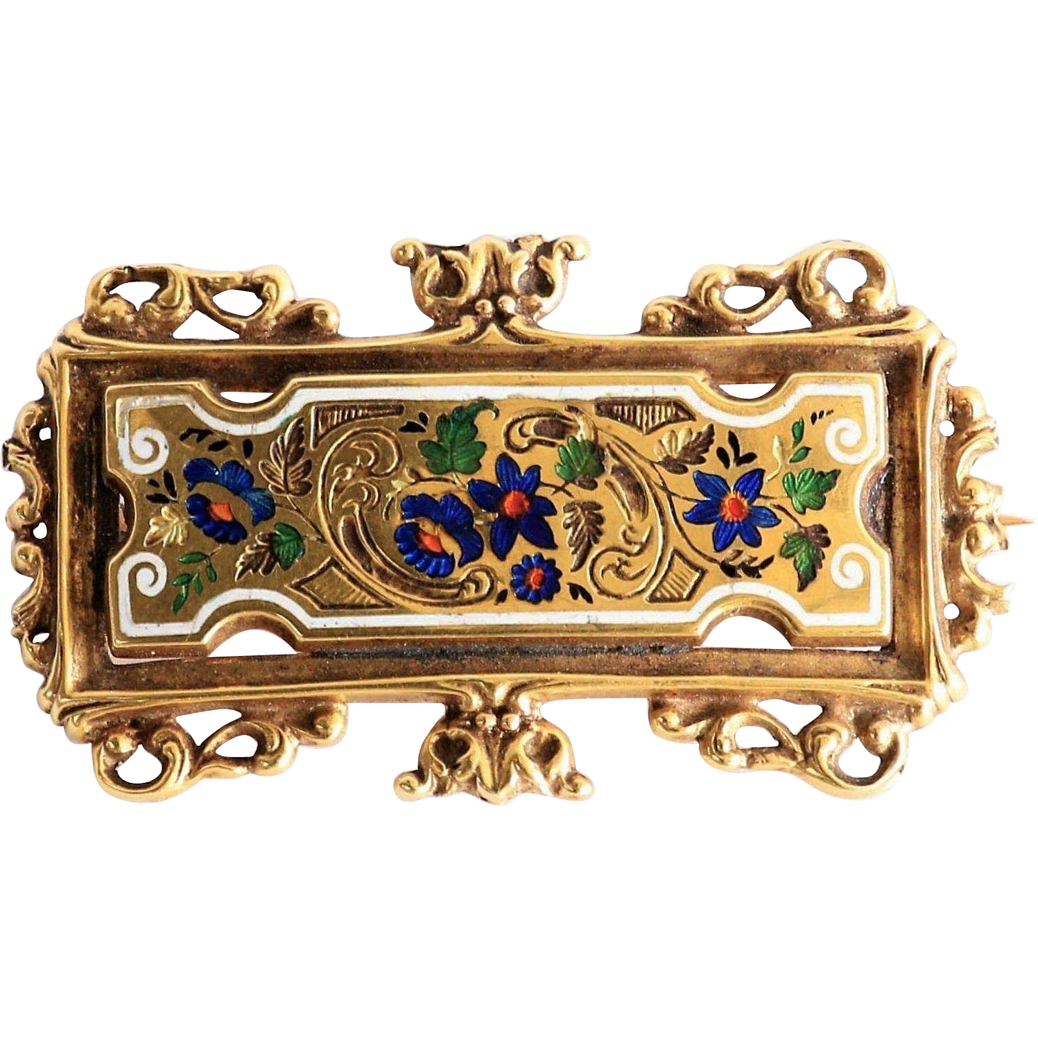 Antique Circa 1890 14K Art Nouveau Enameled Brooch