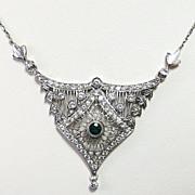 Lady's Edwardian Platinum Diamond & Emerald Lavaliere