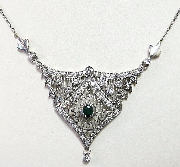 Lady's Edwardian Platinum Diamond & Emerald Lavaliere