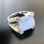 Lady's 14K Art Deco Chalcedony & Diamond Ring