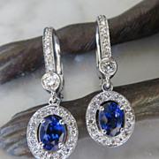 Lady's 14K Sapphire & Diamond Earrings