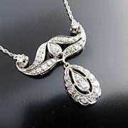 Exceptional Vintage 14K White Gold Diamond Necklace