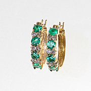 Lady's Vintage 14K Emerald & Diamond Earrings