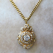 Exceptional Vintage Lady's 18k Diamond Pendant & Chain