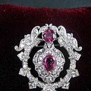 Vintage 3.30 Ct.T.W. Diamond & Pink Tourmaline Platinum Brooch