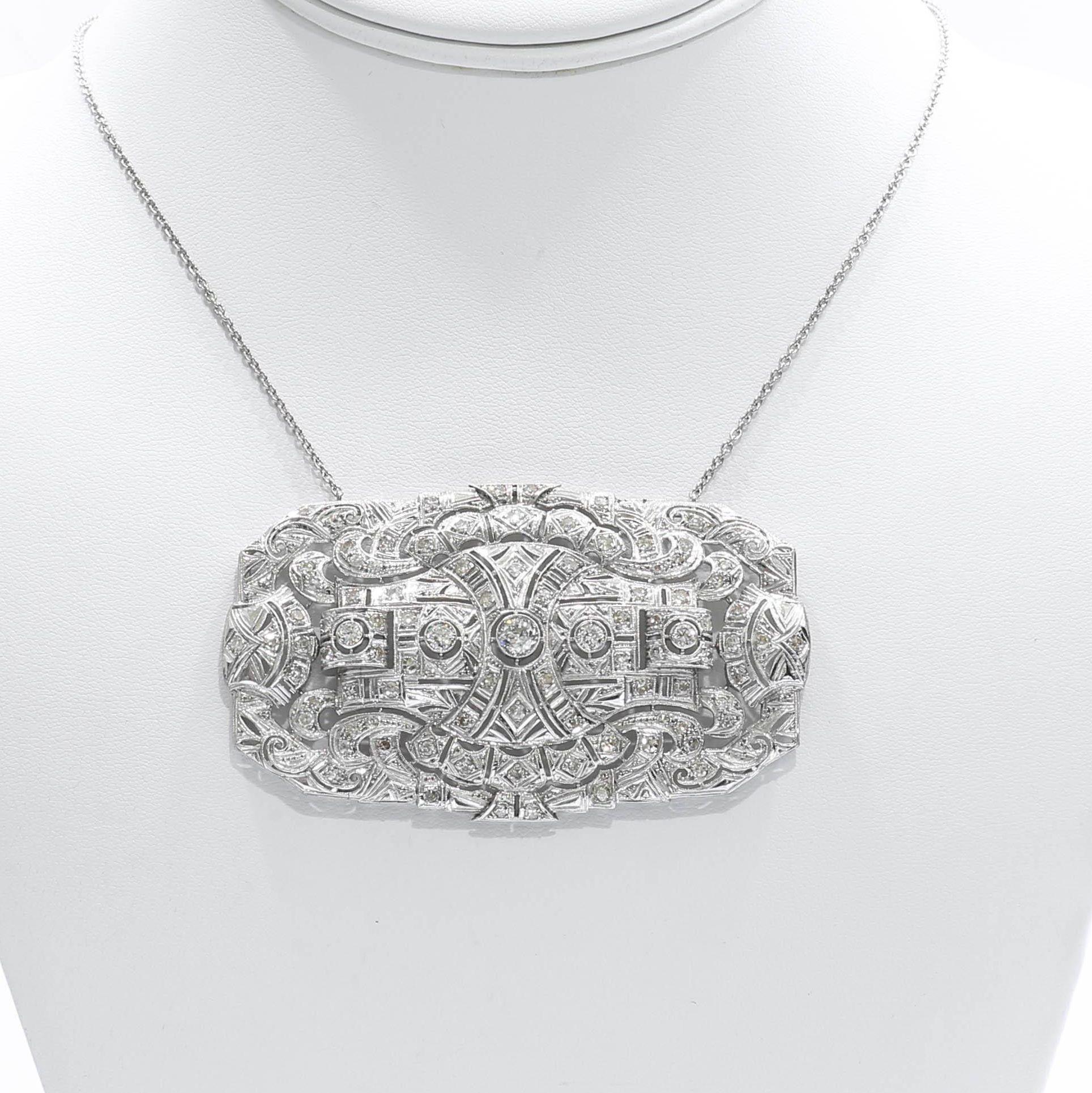 Monumental Size Edwardian Platinum Diamond Brooch