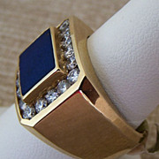 Gent's Vintage 14K Lapis & Diamond Ring