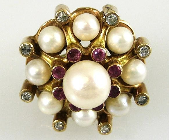 Vintage Lady's 14k Cultured Pearl, Ruby & Diamond Ring